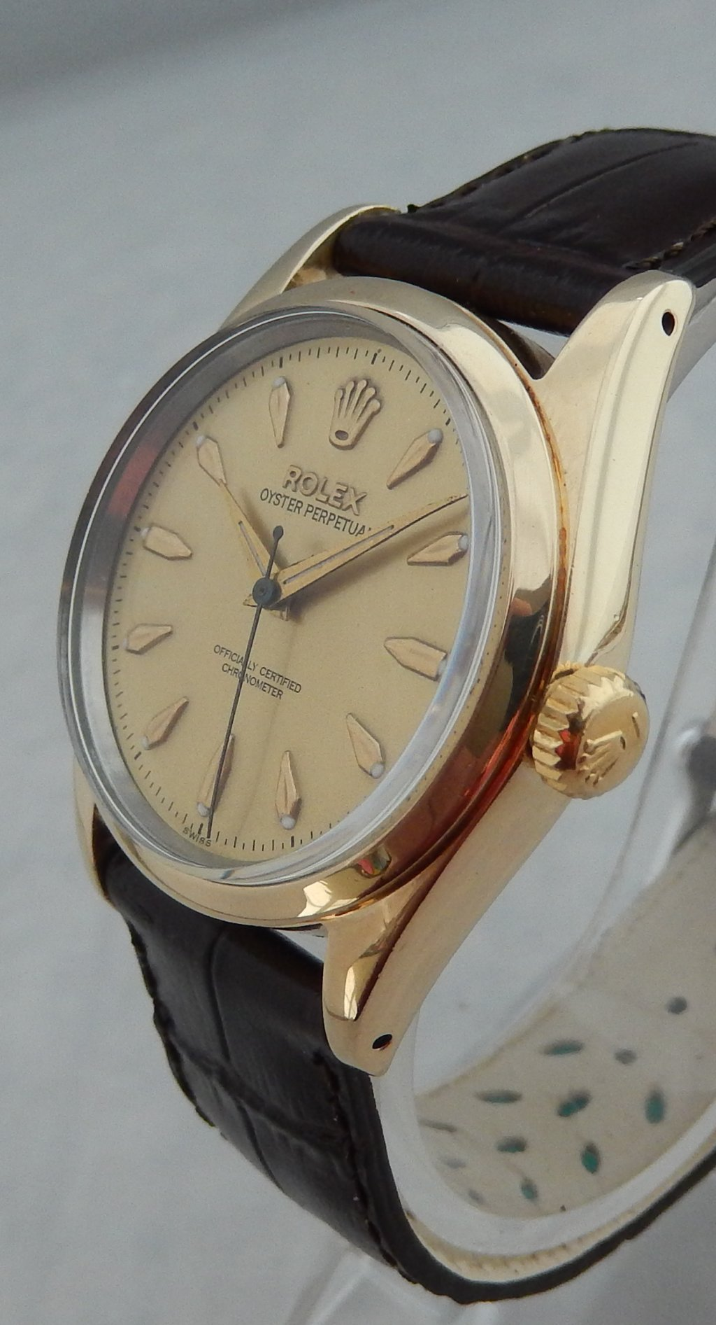Rolex Oyster Perpetual Gold Capped 34mm Mens Watch Leather Strap ...