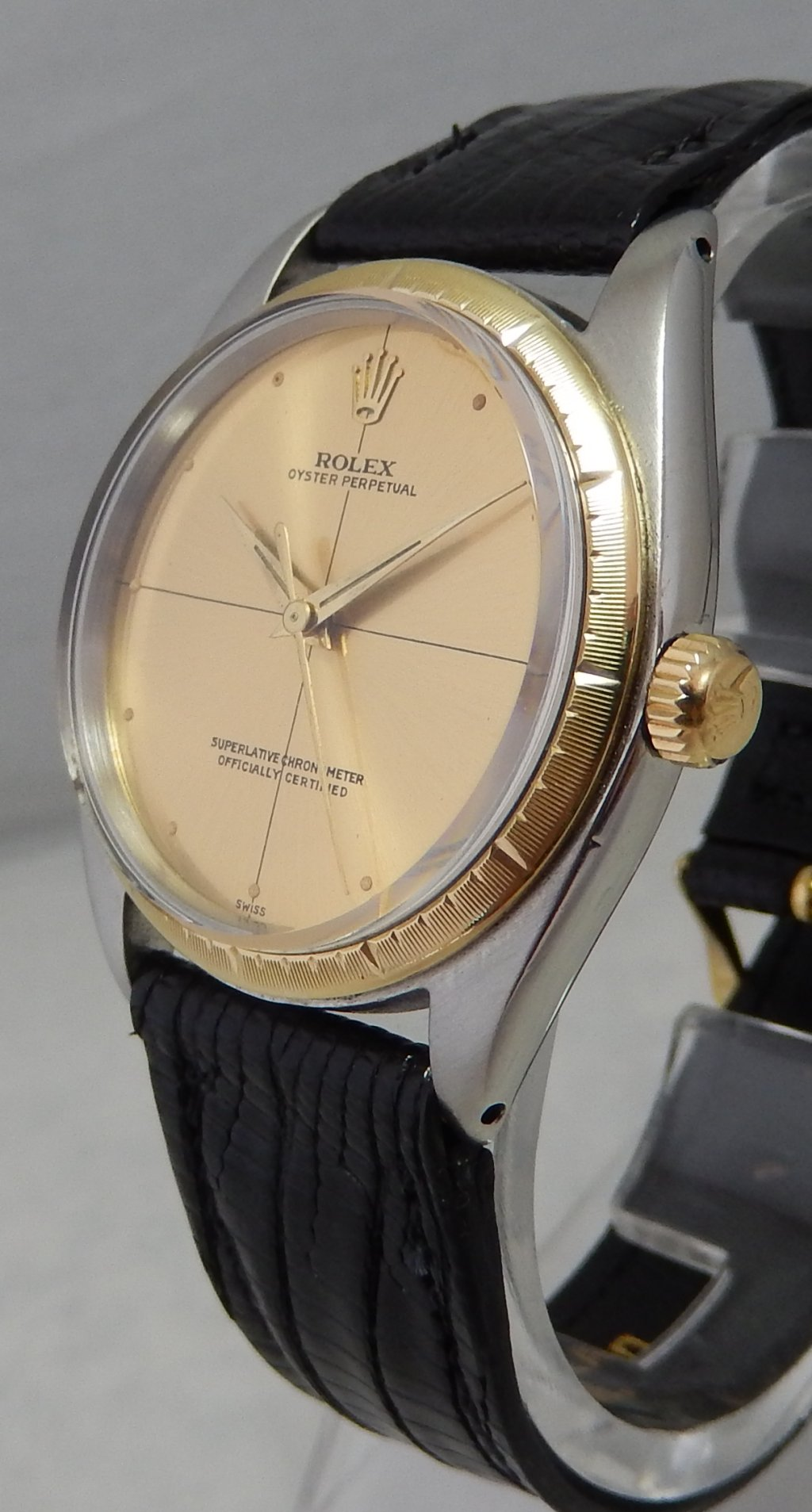 Details about Rolex Oyster Perpetual ZEPHYR 14k/ss Gold/SS Watch Cal 1560  Alligator Strap 1962