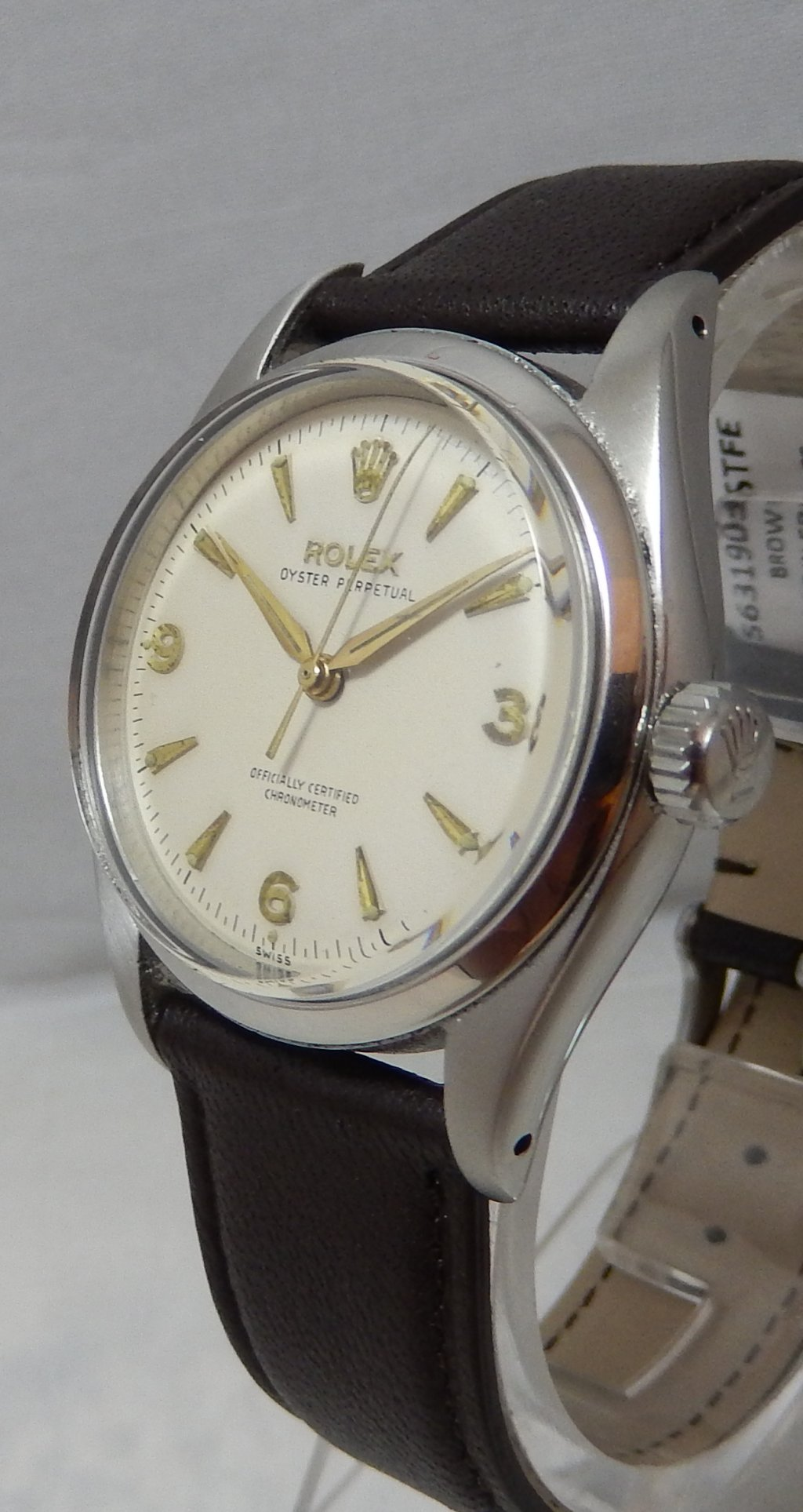 8a7750b747c Details about Rolex Oyster Perpetual 34 mm Mens White Dial Watch cal 1030  Leather Strap 1957
