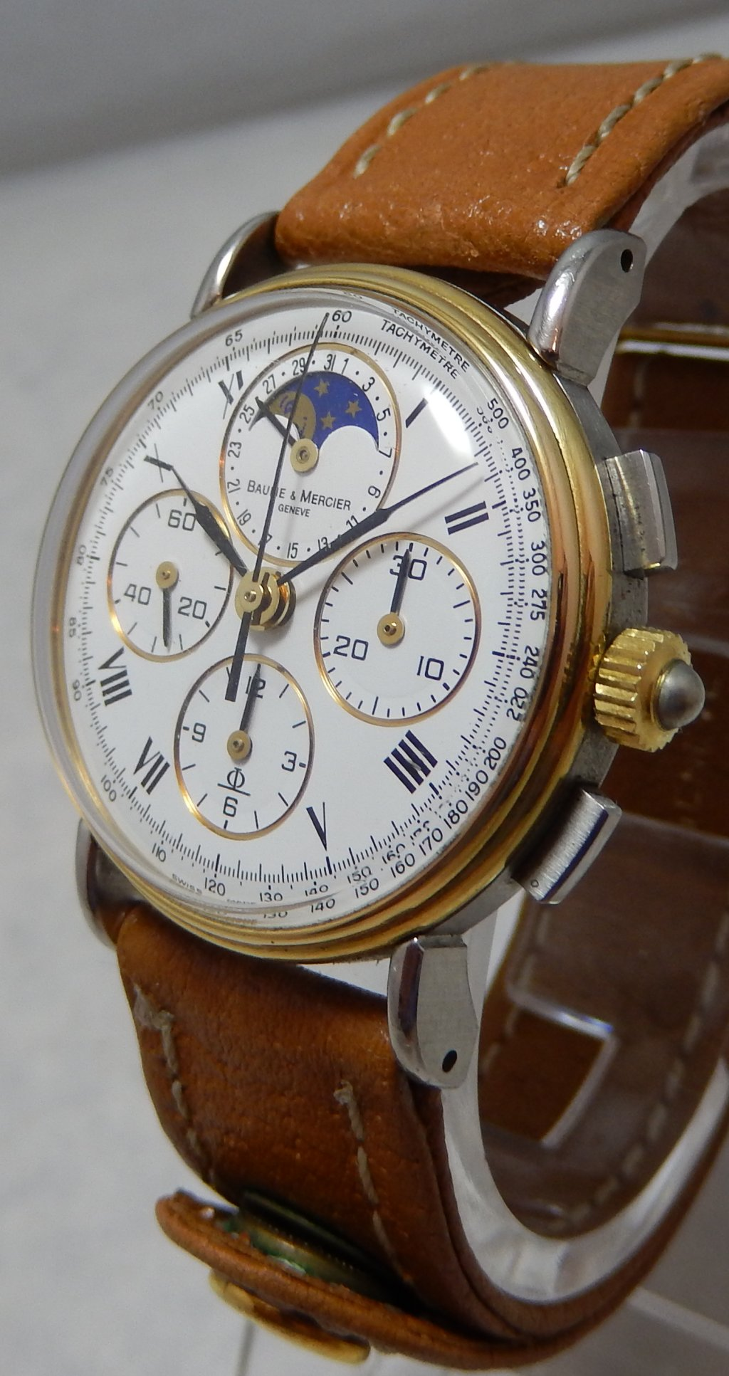 Details about Baume \u0026 Mercier 18k/ss Moonphase Chronograph Unisex Watch  With Date 6102.099